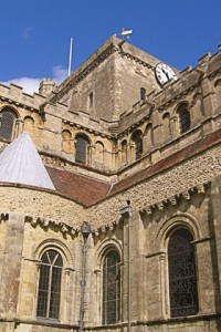 Looking up towards tower of Norman church