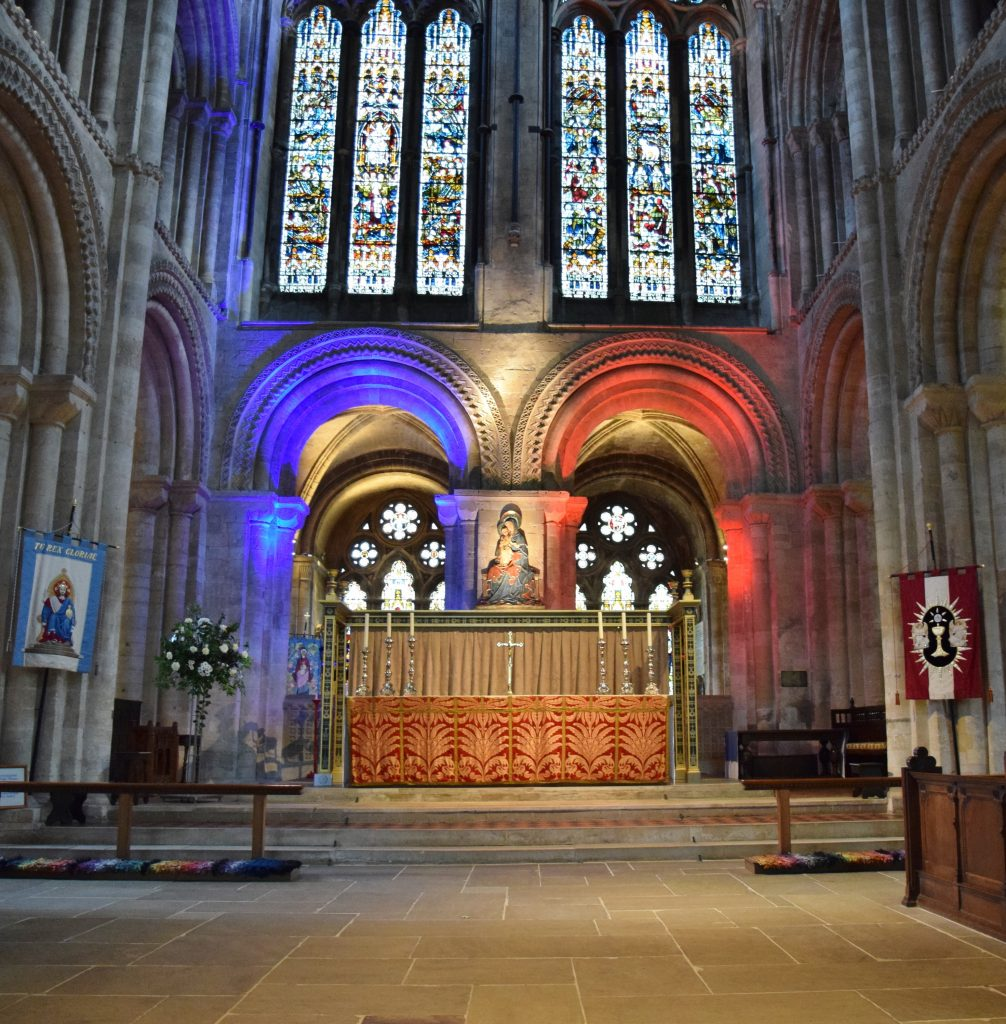 Romsery Abbey with French Tricolour lighting - Image KG - 18.11.2015